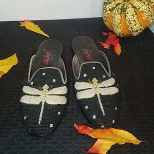 Soles By Paige Needlepoint Dragonfly Mules Size 9